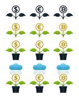 Flores crescentes abstratas com moedas vetor
