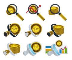 Ícones de lupa e ouro vetor