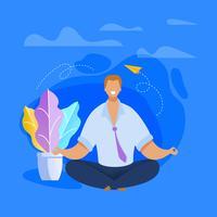 Trabalhador de escritório meditando