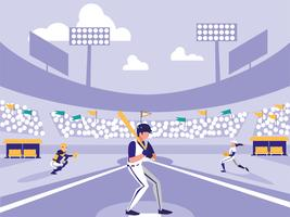 cena de estádio de jogador de beisebol