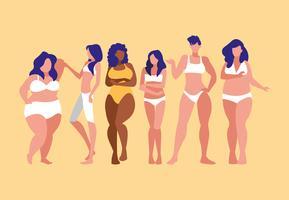 mulheres de diferentes tamanhos e raças modelando roupas íntimas