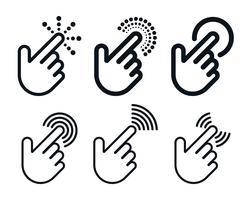 Clique no conjunto de ícones com formas de mão vetor