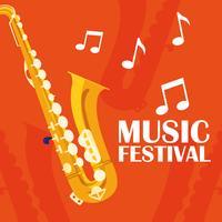 cartaz de instrumento clássico de saxofone
