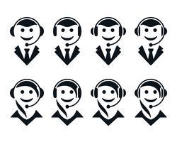Ícones de operador de call center vetor