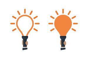 Lanternas com luz em forma de lâmpada vetor