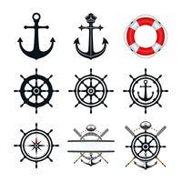 Conjunto de ícones náuticos vetor