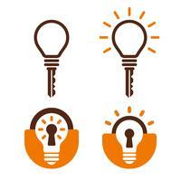 Ícones de lâmpada em forma de chave e fechadura vetor