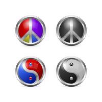 Ícones de paz e yin yang metálico vetor