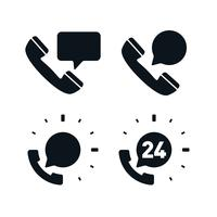 Suporte, telefone, ícones, com, fala, bolhas vetor