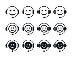 Símbolos de emoticon de call center vetor