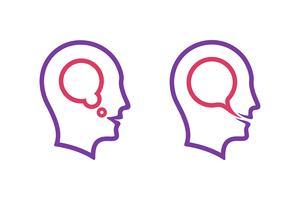 Ícones de cabeça humana com bolha do discurso de pensamento