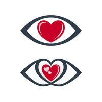 Ícones de olho com tema de amor vetor