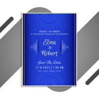 Convite de casamento azul vetor