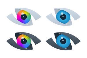Ícones de visão abstrata com globos oculares vetor