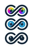 Ícones do infinito com globos oculares vetor