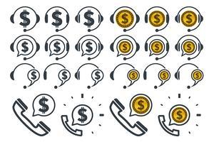 Ícones de fones de ouvido com cifrões vetor