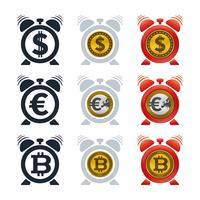Ícones de despertador com moedas vetor