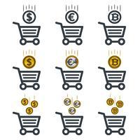 Ícones de carrinho de compras com moedas vetor