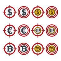 Apontando ícones com moedas vetor