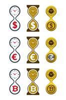 Ícones de ampulheta com moedas vetor