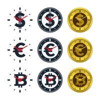 Relógio, ícones, com, moedas correntes vetor