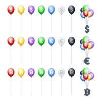 Balões coloridos com moedas vetor