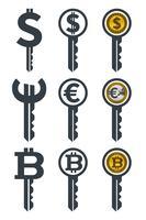 Chaves com moedas vetor
