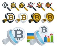 Lupa e bitcoins vetor