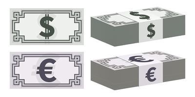 Ícones de notas de dólar e euro vetor