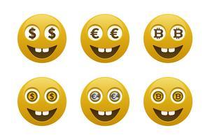 Emoticons de smiley com moedas vetor