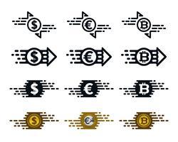 Ícones de transferência de dinheiro rápido vetor