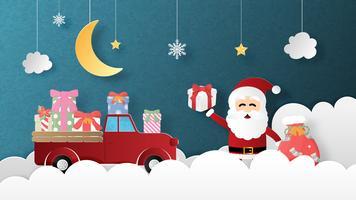 Feliz Natal e feliz ano novo cartão em estilo de corte de papel vetor
