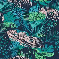 Padrão sem emenda de plantas tropicais com padrões vetor