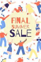 Cartaz publicitário final letras de venda de verão.