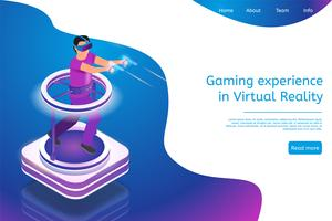 Experiência de jogos isométricos em realidade virtual vetor