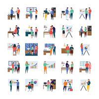 Reuniões de negócios e discussões ícone plano conjunto vetor