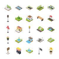 Conjunto de ícones de elementos urbanos