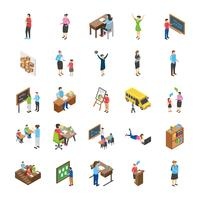 Conjunto de ícones plana de estudantes universitários e universitários