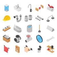Encanador, sanita e banho chuveiro isométrico vetores