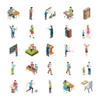 Ícones planas de estudantes universitários e universitários