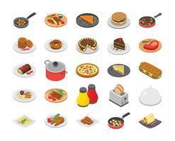 Pacote de cozinhar e alimentar ícones vetor