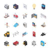 Conjunto de ícones isométricos de energia vetor