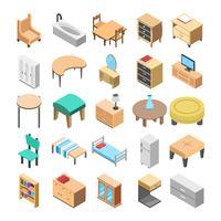 Móveis de madeira Flat Vector Icon Pack