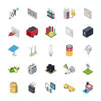Conjunto de ícones de energia elétrica