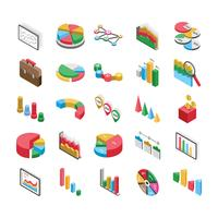 Pacote de ícones plana de gráficos de barras vetor