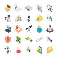 Pacote de ícones de elementos de negócios plana vetor