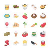 Vários ícones de objetos de comida vetor
