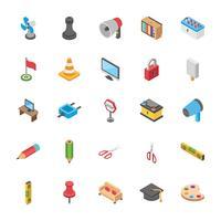 Pacote de educação e outros ícones de objetos