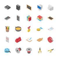 Educação e outros ícones de objetos vetor