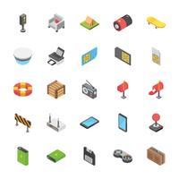 Pacote de tecnologia e outros ícones de objetos vetor